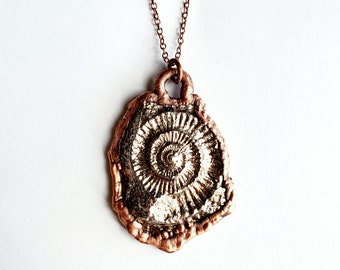 Bismuth with Pressed Ammonite Impression Necklace // Electroformed Copper, Soldered Copper Chain // Fossil