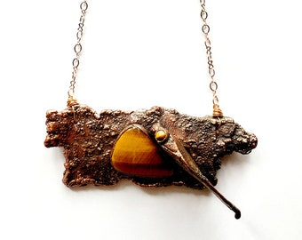 Katydid on Weeping Willow Bark with Tiger Eye Accents  // Electroformed Jewelry // Rose Gold Chain // Cruelty-Free, Insects, Wood, Nature