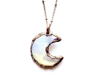 Copper and Opalite Moon Necklace // Soldered Copper Chain // Electroformed, Moon Child // Moon Goddess