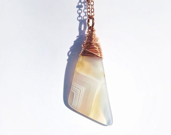 Smooth Wrapped Agate Necklace // Hand Drilled, Copper Wire // Soldered Copper Chain