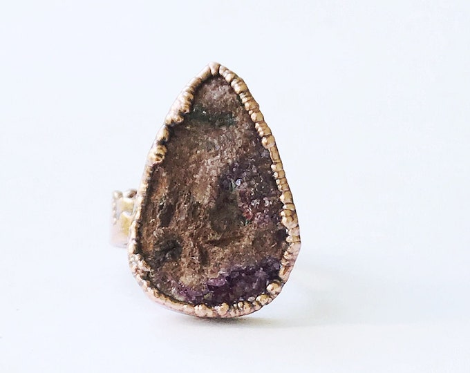 Sparkly Cobaltoan Calcite Electroformed Copper Ring, Size 8.25 // Pure Copper, Natural Stone, Wide Band Mountain Range and Tree Line Band