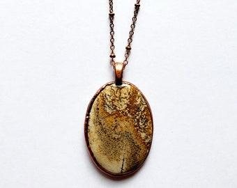 Nurturing Picture Jasper and Copper Pendant // Electroformed, Soldered Copper Chain