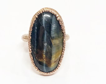 Blue Tiger Eye (Hawk Eye) and Copper Ring, Size 5 // Electroformed, Pure Copper // Natural Stone
