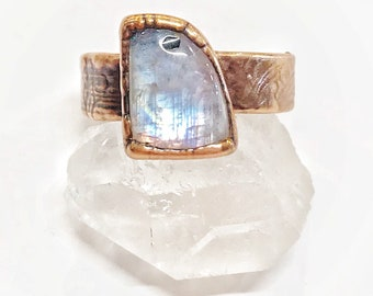 Magical Rainbow Moonstone and Copper Ring, Size 9.5 // Electroformed, Pure Copper, Ornate Wide Band