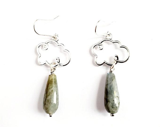 Silver Cloud and Faceted Labradorite Drop Earrings // Silver Filled Earhooks // Gemstones
