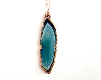 Blue Agate Necklace // Electroformed Jewelry // Soldered Copper Chain // Natural Stone