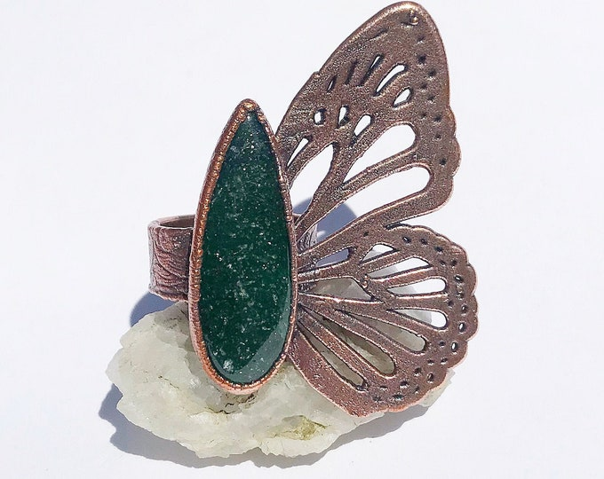 Adventurine Butterfly Ring, Size 9 // Electroformed Copper // Natural Stone, Statement Ring