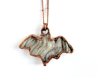 Chalcedony Druzy Bat Necklace // Electroformed, Soldered Copper Chain // Sparkly Bat