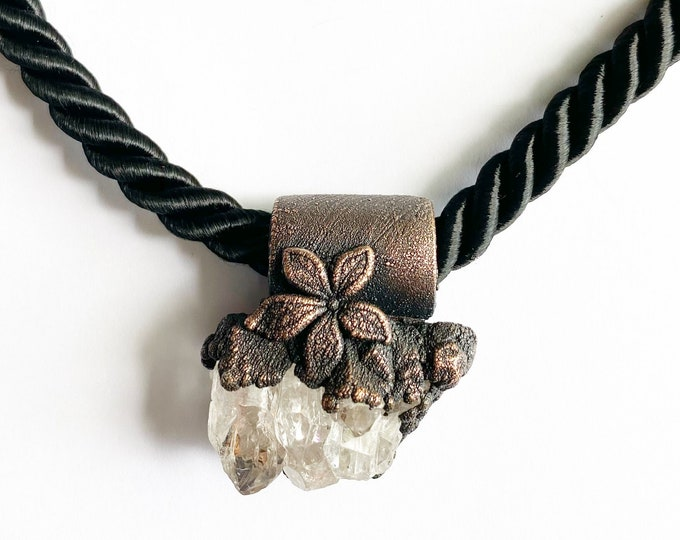 Arkansas Quartz Crystal Necklace // Electroformed Jewelry // Twisted Black Satin Rope // Off the Chain Collection