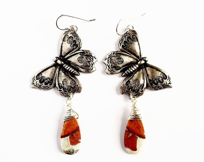 Antique Silver Butterfly and Maligano Jasper Earrings // Silver Filled Ear Hooks // Genuine Stones, Hand Drilled, Hand Wrapped