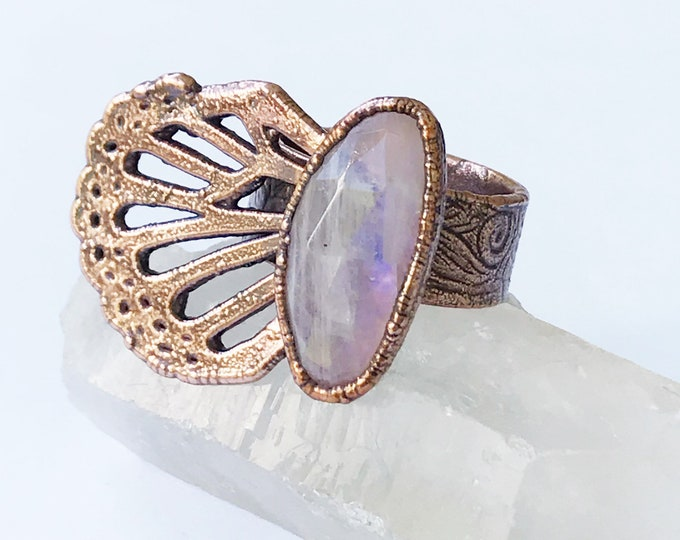 Copper One Wing Faceted Rainbow Moonstone Butterfly Ring, Size 8.75 // Electroformed Copper // Natural Stone, Statement Ring, Flash