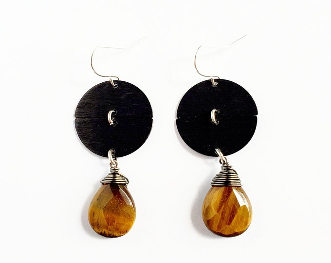 Oxidized Half Moon Earrings with Faceted Tiger Eye // Silver Filled Ear Hooks // Stone Earrings, Natural Stone