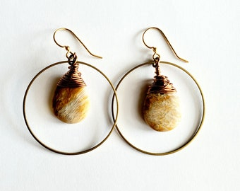 Fossilized Coral Loop Earrings // Brass French Ear Wires, Brass Hoop // Genuine Stones, Hand Drilled, Hand Wrapped