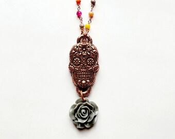 Electroformed Copper Sugar Skull Pendant with Grey Flower //Multi Color Gemstone Rosary Chain // Día de los Muertos , Day of the Dead