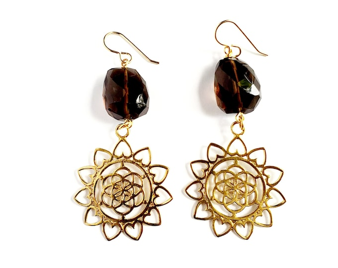 Faceted Smoky Quartz and Brass Mandala Earrings // Brass Earwires, Metaphysical