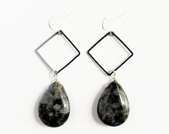 Teardrop Larvikite Drop Earrings // Gunmetal Triangles, Silver Filled Earhooks // Gemstones, Black Labradorite