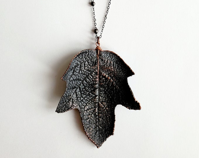 Antique Copper Electroformed Leaf // Soldered Gunmetal Chain // Trees, Nature, One of a kind