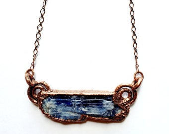 Electroformed Copper Blue Kyanite Blade Necklace // Electroformed, Soldered Copper Chain