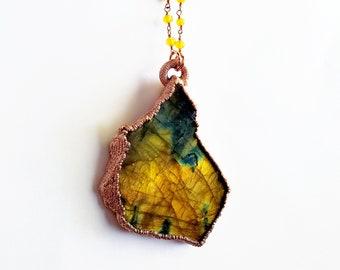 Freeform Labradorite Necklace // Electroformed Jewelry // Citrine Beaded Chain // Black Moonstone, Spectralite