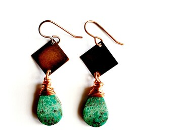 Tibetan Turquoise with Copper Diamond Plate Earrings // Copper French Ear Wires // Genuine Stones, Hand Drilled, Hand Wrapped