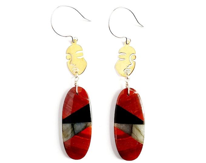 Brass Faces with Labradorite, Red Jasper, & Obsidian Drop Earrings //Sterling Silver Earhooks // Gemstones, Unique Earrings