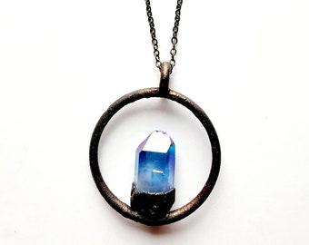 Cobalt Aura Quartz Crystal Point and Gunmetal Copper Halo Necklace // Electroformed Copper // Gunmetal Chain