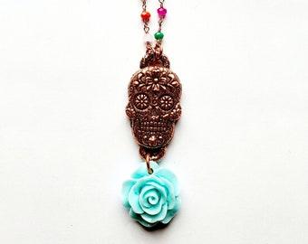 Electroformed Copper Sugar Skull Pendant with Baby Blue Flower // Multi Color Gemstone Rosary Chain // Día de los Muertos , Day of the Dead