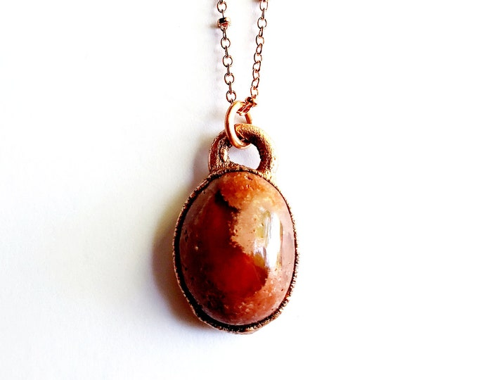 Mexican Fire Opal Necklace // Electroformed Copper Jewelry // Soldered Copper Chain