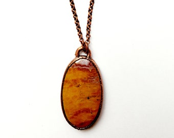 Electroformed Ocean Jasper Necklace // Electroformed, Pure Copper // Soldered Copper Chain