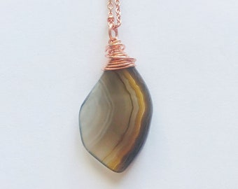 Wrapped Agate Necklace // Hand Drilled, Copper Wire // Soldered Copper Chain