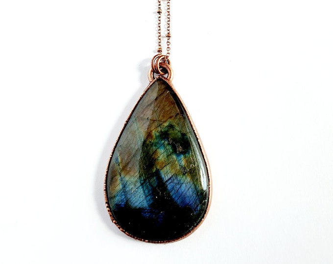 Open Back Labradorite Necklace // Electroformed Copper // Soldered Copper Chain // Black Moonstone, Spectralite