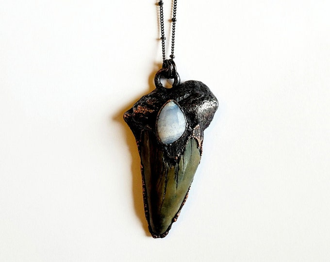 Electroformed Megalodon Shark Tooth with Faceted Blue Lace Agate // Soldered Gunmetal Chain