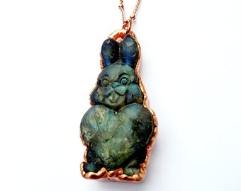 Electroformed Carved Labradorite Rabbit Necklace // Soldered Copper Chain // Gemstones, Cabochon, Energy