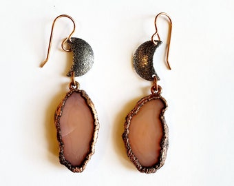 Peach Agates with Waxing and Waning Gunmetal Moons // Rose Gold French Ear Wires // Genuine Stones, Copper Plated