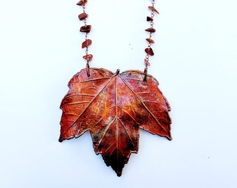 Real Iridescent Electroformed Maple Leaf Necklace // Goldstone Beaded Chain // Trees, Nature