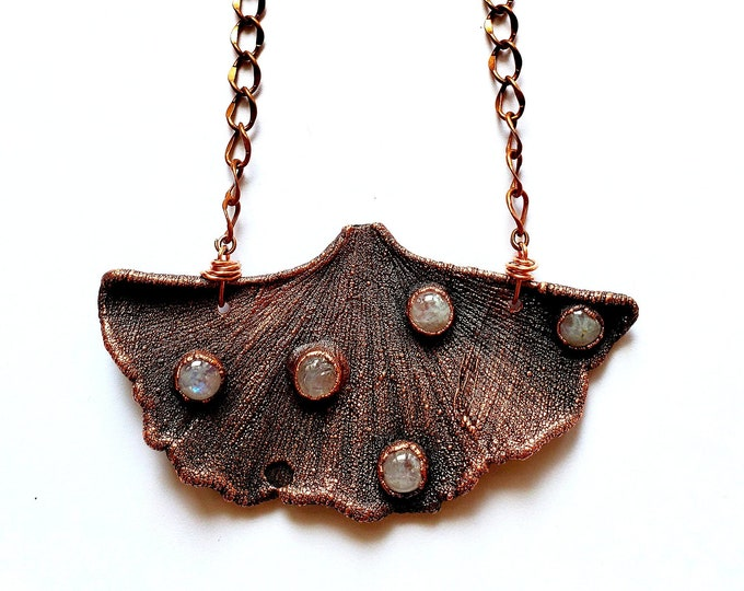 Antiqued Copper Electroformed Ginkgo Leaf with Rainbow Moonstone Necklace // Soldered Copper Chain // Mother Nature