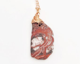 Vibrant Agate Necklace // Hand Drilled, Copper Wire // Soldered Copper Chain