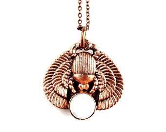 Mythological Egyptian Scarab Beetle with Rainbow Moonstone Necklace // Electroformed Jewelry // Soldered Copper Chain