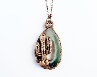Green Oco Occo Agate Geode Druzy with Cactus Electroformed Necklace // Nature, Southwest // Soldered Copper Chain