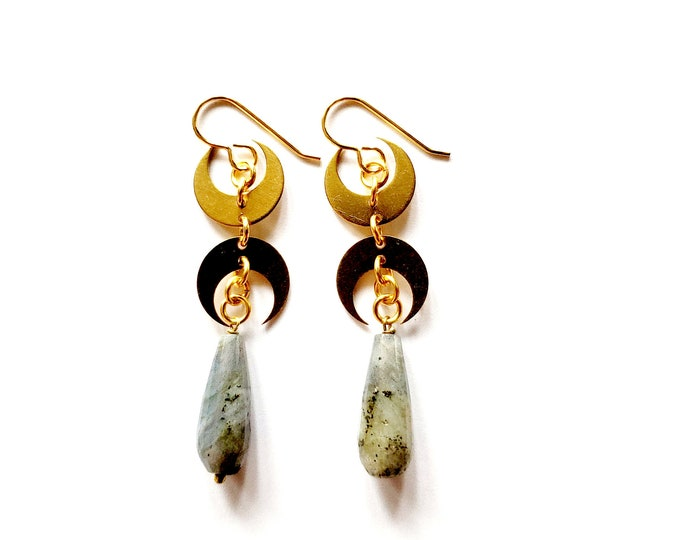 Featured listing image: Faceted Labradorite with Brass Double Crescent Moon Drop Earrings // Brass Ear Hooks // Gemstone