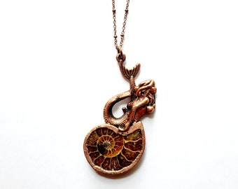 Copper Mermaid and Ammonite Fossil Necklace // Electroformed, Soldered Copper Chain