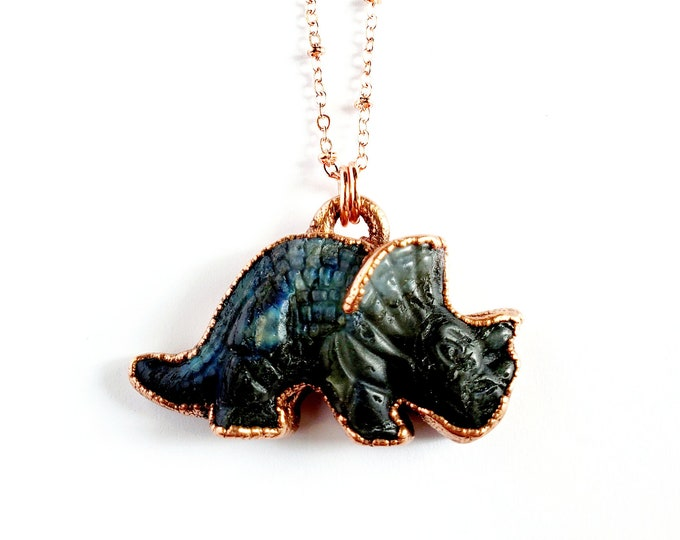 Carved Labradorite Triceratops Necklace // Electroformed Copper // Soldered Copper Chain // Gemstones, Cabochon, Energy