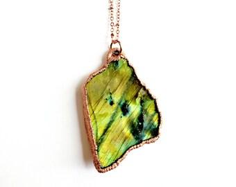 Freeform Labradorite Necklace // Electroformed Jewelry // Soldered Copper Chain // Black Moonstone, Spectralite