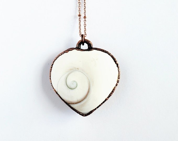 Shiva Eye Shell Heart Necklace // Electoformed Copper // Soldered Copper Chain