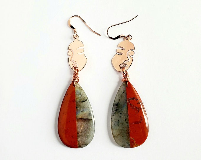 Labradorite and Red Jasper with Rose Gold Face Drop Earrings // Rose Gold Earhooks // Gemstones