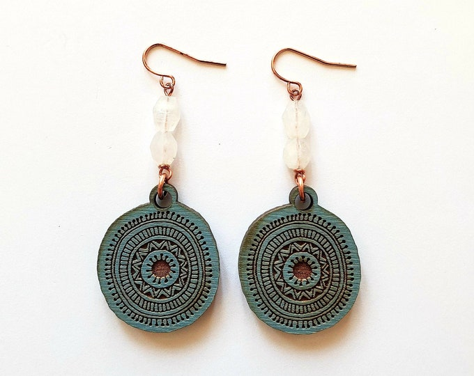 Featured listing image: Blue Burlap Wooden Ornate Tribal Circle with Rainbow Moonstone Dangle Earrings // Laser Engraved, Boho Chic