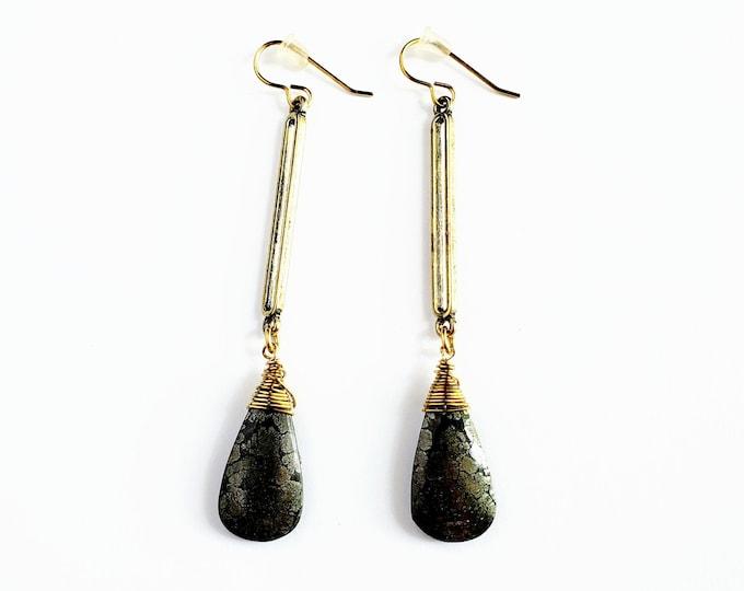 Marcasite Drop Earrings // Brass Ear Hooks // Genuine Stones
