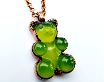 Yellow Gummy Bear Necklace // Electroformed, Copper // Soldered Copper Chain