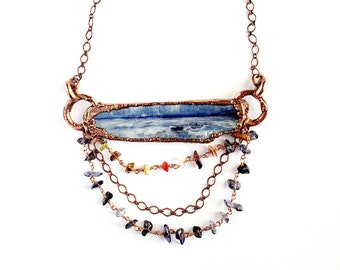 Blue Kyanite Blade Necklace with Iolite and Multi-Gemstone Beaded Chain Dangle // Electroformed Jewelry // Soldered Copper Chain