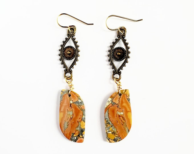Antique Bronze Eyes and Maligano Jasper Drop Earrings // Brass Ear Hooks // Genuine Stones, Hand Drilled, Hand Wrapped
